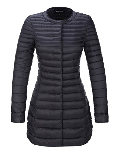 Bellivera Women's Quilted Lightweight Padding Jacket, Puffer Coat Cotton Filling with 2 Pockets Black X-Large