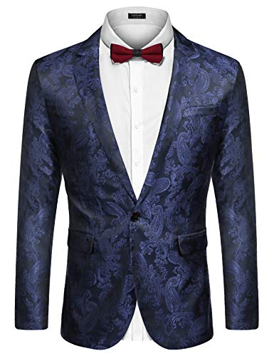 (COOFANDY Men's Luxury Paisley Suit Jacket Formal Party Jacket Blazer Lightweight One Button Tuxedo Navy Blue )