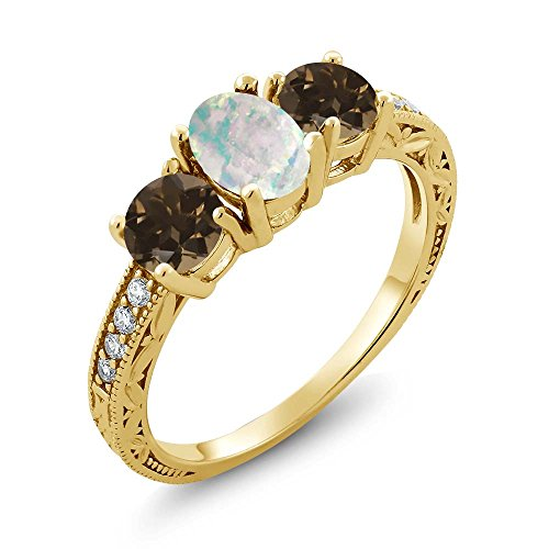 Gem Stone King 1.67 Ct Oval Cabochon White Simulated Opal Brown Smoky Quartz 18K Yellow Gold Plated Silver Ring