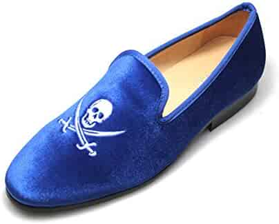 f5ed300ab5d01 SMYTHE & DIGBY Men's Albert Slippers Blue Velvet Loafers Skull and Swords  Motif