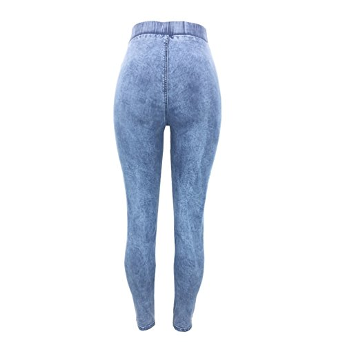 Blu Legging Eleganti Alta A Elastico Matita Leggero Pantaloni Sentao Lunghi Casual Skinny Jeans Donna Vita 8pwxqFvP6x