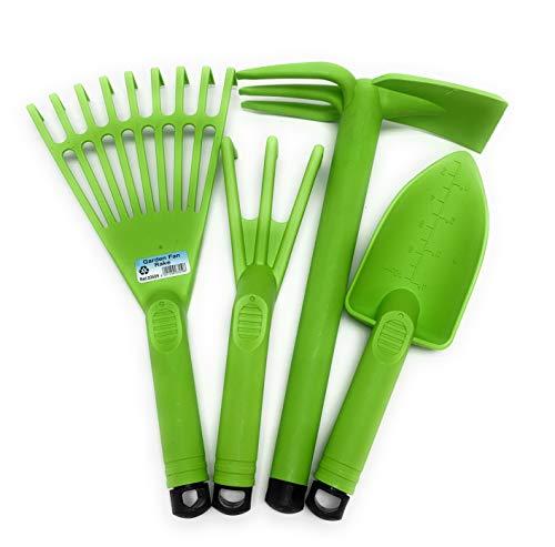 Mintra Home Gardening Tool Set 4pc (Hand Rake, Garden Claw, Cultivator, Shovel) (Set 2 (Lime Green))