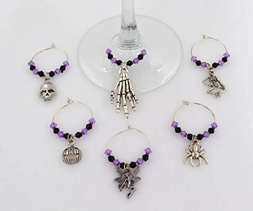 Halloween Wine Glass Charms with Purple and Black Beads - 6 Piece Cocktail Drink Charm Set in Black Velour Gift Pouch -
