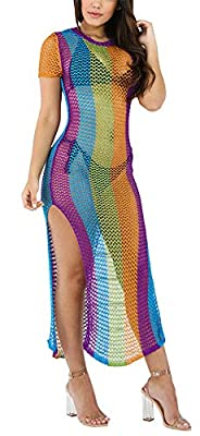 Speedle Womens Round Neck Short Sleeves Colorful Stripe Side Split Fishnet Cover up Dress