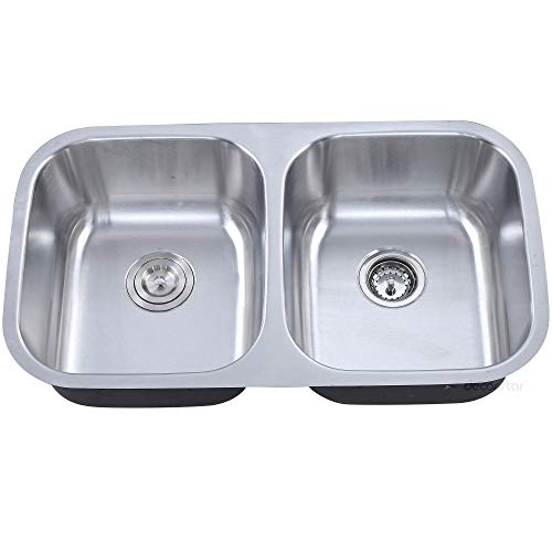 Decor Star P-006 32 1/4 Inch Undermount 50/50 Equal Double Bowl 18 Gauge Stainless Steel Kitchen Sink cUPC