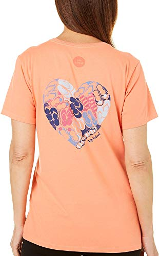 Life is Good Women's Heart Flip Flops Crusher Tee, Fresh Coral (Large)