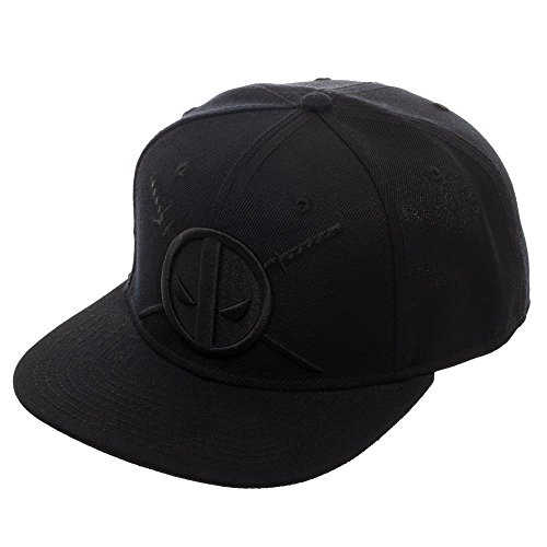 Deadpool and Twin Katanas Cap, Black Hat with Embroidered Design, Marvel Movie]()