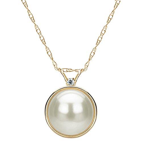 14k Yellow Gold 1/100cttw Diamond 9-9.5mm White Freshwater Cultured Pearl Bezel Design Pendant, 18