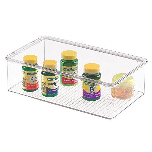 mDesign Aufbewahrungsbox für das Bad, für Medizin, Vitamine, Verbandkasten, Cremes und Salben, Kosmetika - Durchsichtig