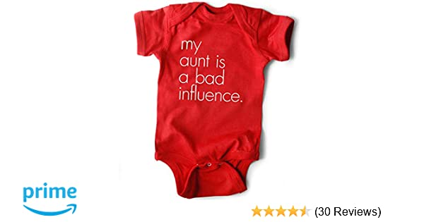 993520a3d5be Amazon.com: WRYBABY Funny Baby Bodysuit | My Aunt is a Bad Influence | Red,  0-6M: Clothing