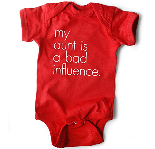 (Wrybaby Funny Baby Bodysuit | My Aunt is a Bad Influence | Red, 6-12M)