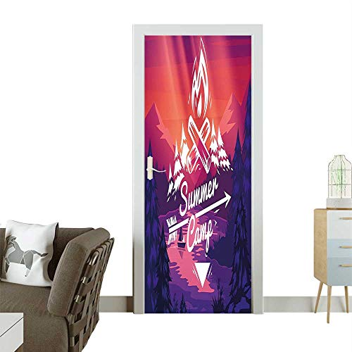 Door Sticker Wall Decals Style Summer Camp ography and Fire Figur Graphic Purple Pink Easy to Peel and StickW36 x H79 INCH