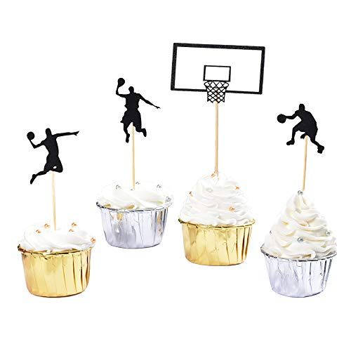 AICAKE Basketball Cupcake Toppers, Fruit Food Dessert Picks Cake Topper for Boys Kids Birthday Sport Theme Party Baby Shower Christmas Decoration (24PCS)