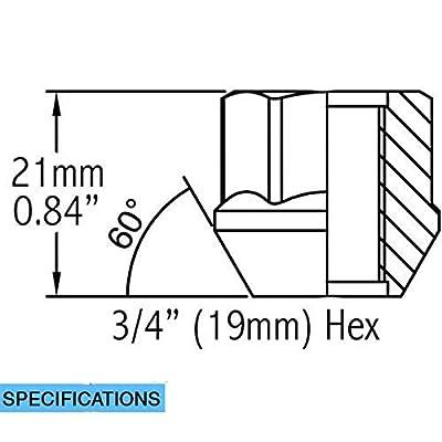 Wheel Accessories Parts Set of 20 Zinc Finish Open-end Acorn Bulge Lug Nuts Set 19mm (3/4