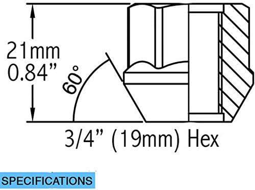 Wheel Accessories Parts Set of 32 M14x1.5 Chrome 0.84 19mm Hex Open-end Acorn Bulge Lug Nuts Set 3//4