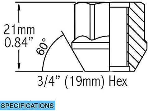 Hex 9//16 Wheel Accessories Parts Set of 20 Zinc Finish Open-end Acorn Bulge Lug Nuts Set 19mm 3//4