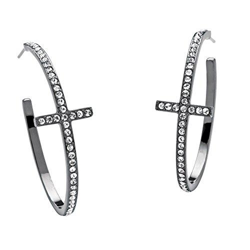 Round White Simulated Crystal Black Rhodium-Plated Cross Hoop Earrings - Hoop Crystal Rhinestone Austrian