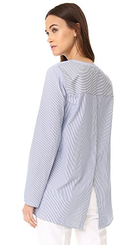 Theory Women's Ofeliah Taff Stripe Top, Blue/White, M