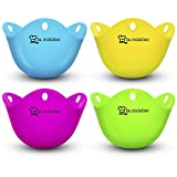 Food grade high temperature multi-function durable silicone egg poacher cup, suitable for food, microwave, oven, 4 different colors (white)