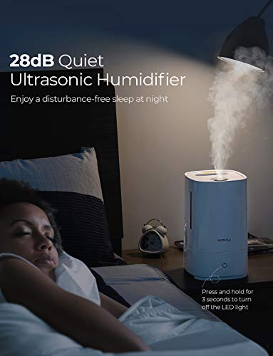 32dB Quiet Air Humidifier for Bedroom Waterless Auto-Off Babyroom VicTsing Cool Mist Humidifiers with 2L Large Water Tank Ultrasonic Humidifiers with 24 Working Hours Living Room-White/&BLue