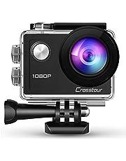 Crosstour Action Cam 4K 16MP WiFi Sports Kamera Helmkamera Unterwasserkamera mit externem Mikrofon Anti-Shaking Zeitrafferaufnamhme Weitwinkelobjektiv mit 2 Akkus und kostenlose Accessoires