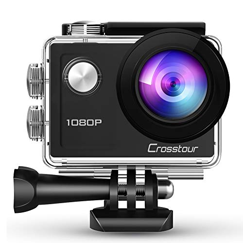 Crosstour Action Waterproof Camera 1080P Full HD 14MP Anti-Shake Time-Lapse Recording 170° Wide-Angle Helmet Camera for Diving/Skiing/Swimming with 20 Mounting Accessory Kits (Best Camera For Skiing Photos)