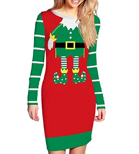 Waist Picture Women Dresses Christmas Skinny As Stripe Bodycon Coolred IvqOg