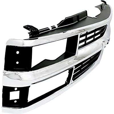 Grille Assembly Compatible with 1994-1999 Chevrolet K1500 Cross Bar Chrome Shell/Painted Black Insert with Composite Headlights: Automotive