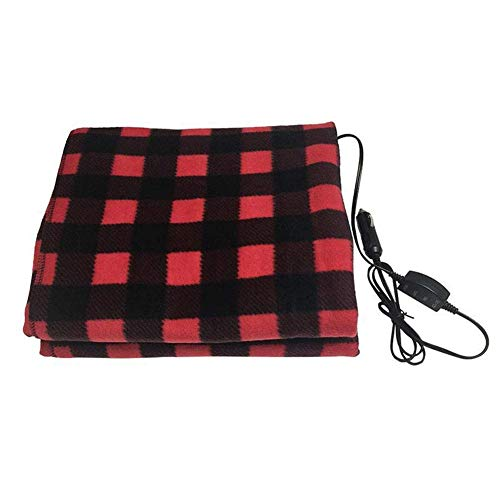 Leather Cover Seat - 2019 12v Electric Heated Car Truck Fleece Blanket Winter Warm Travel Cover Heater (Red)