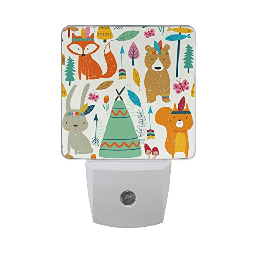(JOYPRINT Led Night Light Cute Animal Fox Bear Rabbit Butterfly Tribal, Auto Senor Dusk to Dawn Night Light Plug in for Kids Baby Girls Boys Adults Room)