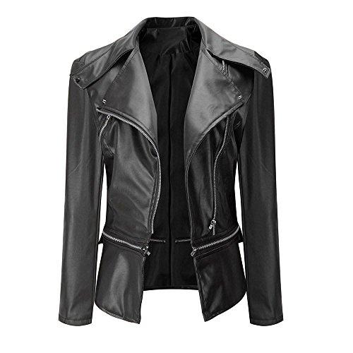 Women Leather Zipper Jacket, Xinantime Fashion Vintage Biker Motorcycle Overcoat Outwear Black