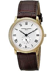 Frederique Constant Mens 235M4S5 Slim Line Analog Swiss Quartz Brown Watch