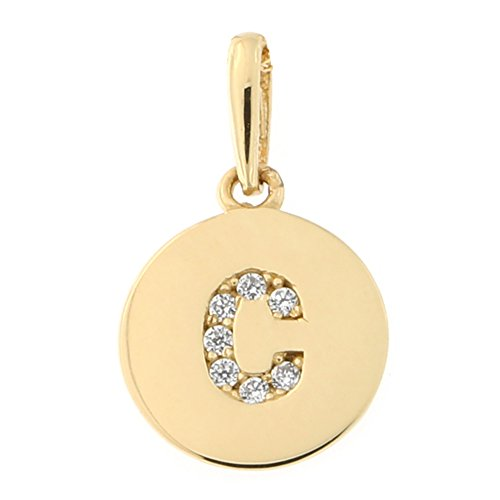 14k Yellow Gold Cubic Zirconia Tiny Round Disc Initial Pendant, C, Pendant Only