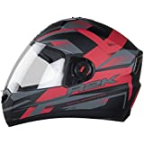 Steelbird SBA-1 R2K Full Face Helmet (Matt Black and Red, L)