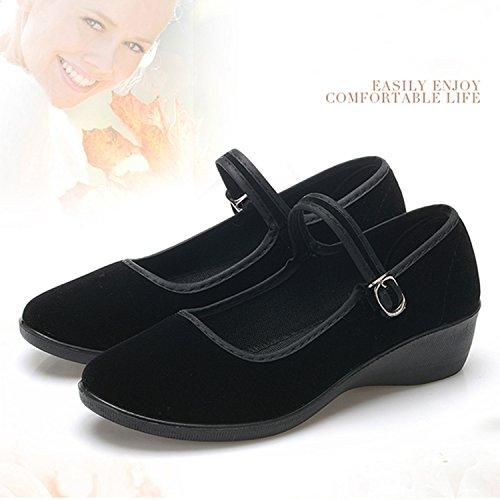 Sibba Womens Mary Jane Round Toe Platform Wedges Black-low Heel SwBf9jzD