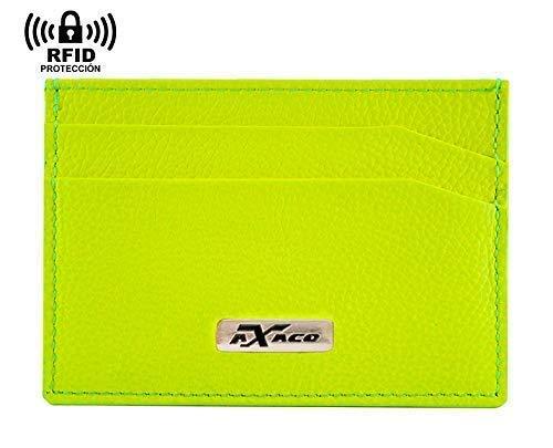 Mini tarjetero de piel flúor, para hombre y mujer, antirrobo bloqueo RFID, color amarillo, bolsillo adicional para billetes. Fabricado en Ubrique (España): Amazon.es: Handmade