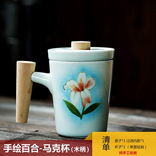 Hand Painted Lily - Hand-painted banana leaf with lid filter tea cup home ceramic office bubble tea cup, hand-painted lily - mug (wooden handle)