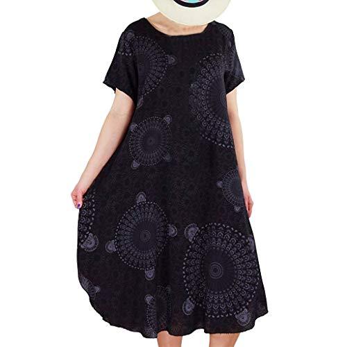 (Tantisy ♣↭♣ Women's Summer Casual Floral Print Short Sleeve Flared Midi Dress/Plus Size S-XXXXXL Black)