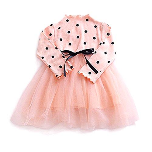 - YOHA Baby Girls Dot Long Sleeve Tulle Skirt Autumn Toddler Tutu Tulle Dress Pink,90
