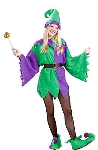 Mardi Gras Jester Adult Costume Elf Tunic Unisex Men Women Purple, Standard ()