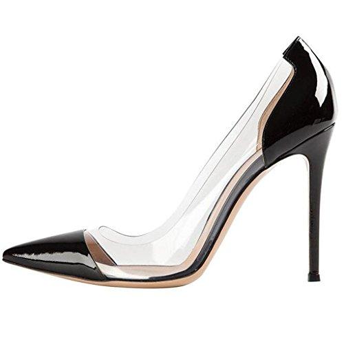 Lovirs Womens Sexy High Heel Pointed Toe Slip On Stiletto Pumps Wedding Party Dress Shoes Black Patent yfVW5