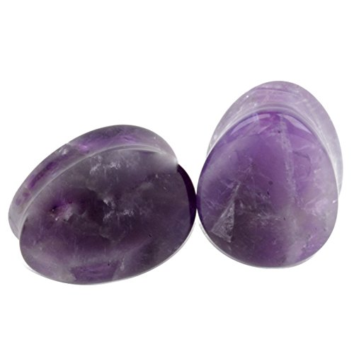 Yodeyhoo 2PCS Amethyst Organic Stone Teardrop Tunnels Plugs Ear Gauges Piercing 2g-5/8