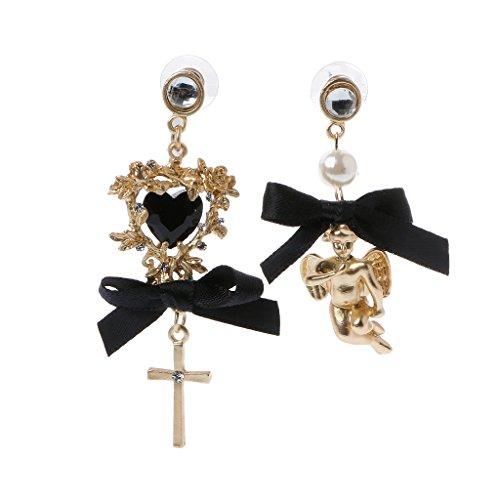 Hibye Women Asymmetric Lace Bow Cherub Angel Drop Dangle Earrings Baroque Pearl Jewelry, Black