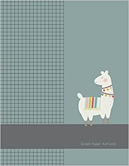 graph paper 4x4 grid large graph paper with cute llama cover 8 5