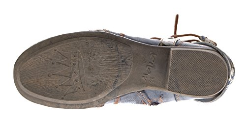 TMA Damen Stiefeletten Comfort Boots Echtleder Schwarz Blau Rot Leder Schuhe TMA 6186 Gr. 36 - 42 Schwarz-Grau