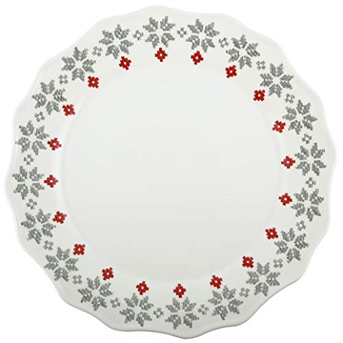 Melamine 10.5 Plate (Melange 608410091450 6-Piece 100% Melamine Dinner Plates Christmas Collection-Grey Holly Shatter-Proof and Chip-Resistant|, 10.5