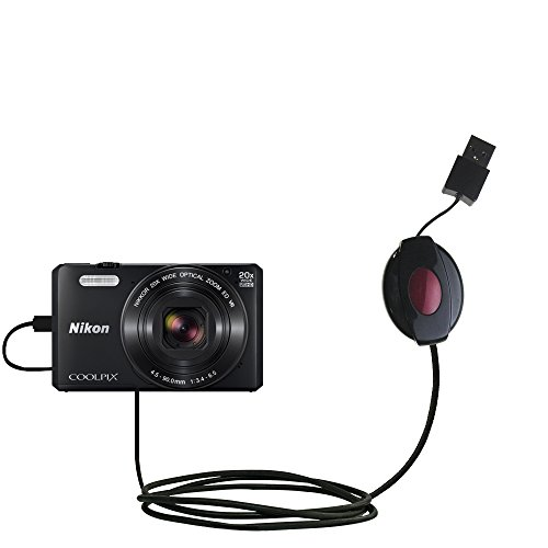 Compact and retractable USB Power Port Ready charge cable designed for the Nikon Coolpix S7000 and uses TipExchange
