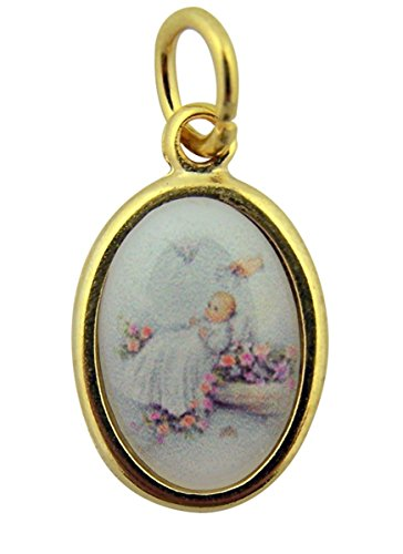 (Gold Toned Base with Epoxy Image Baby Baptism Icon Medal Pendant, 1 Inch)