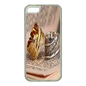 Iphone 5s Case,Hard PC Iphone 5s Protective Case for Ultimate Protect iphone 5s with Silver and Gold Etched Wrap Feather Indie Hipster Ring Jewelry
