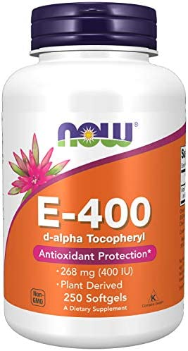 Now Supplements Vitamin E-400 IU D-Alpha Tocopheryl, Antioxidant Protection, Softgels, 250 Count (Pack of one)